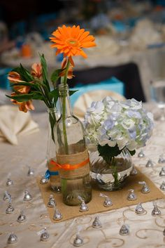 DIY Centerpieces with wine bottles and beer bottles