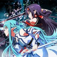 Asuna and Kirito Sword Art Online wallpaper Anime wallpapers Sword Art Online Asuna, Sword Art Online Weapons, Arte Online, Kunst Online, Online Art, Full Metal Alchemist, Teen Titans, Rwby, Otaku