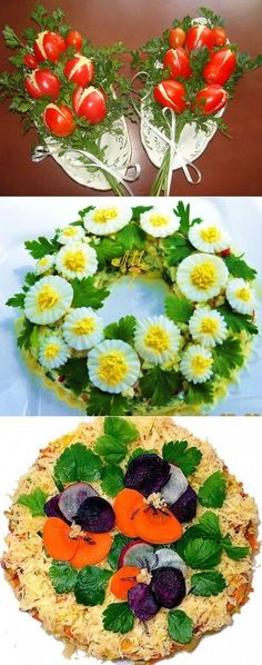Food art deviled egg on top of potato salad Food Design, Design Design, Floral Design, Food Carving, Vegetable Carving, Food Garnishes, Garnishing Ideas, Edible Arrangements, Flower Arrangements