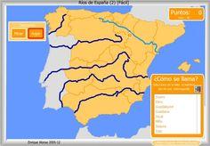 Elige de la lista propuesta el nombre de cada uno de los ríos de España señalados en el mapa.