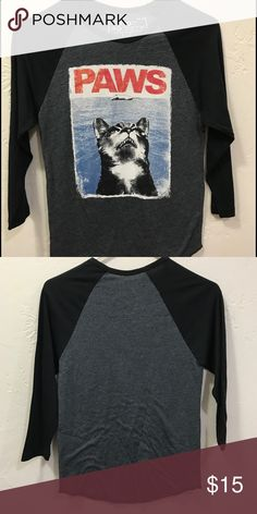 Baseball tee cat paws Never worn baseball tee. Excellent condition. Size is small but fits more like extra small. riot society Tops Tees - Short Sleeve