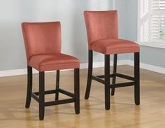 "Bloomfield 24""H or 29""H Microfiber Bar Stool with Terracotta Fabric - Set of 2 - Homeclick Community"