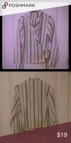 Black and white pin stripped top Been worn once , pin stripped top , light material ,cuffed sleeves Cotton On Tops Blouses