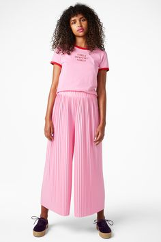 A fantastic pair of electric pleated trousers, with wide raw edge legs and an elasticated waist that are just made for some mad dance moves.