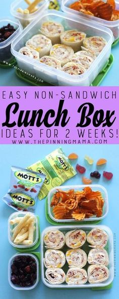 Turkey Ranch Roll Up - lunch box idea for kids! Just one of 2 weeks worth of non-sandwich school lunch ideas that are fun, healthy, and easy to make! Grab your lunch bag or bento box and get started!