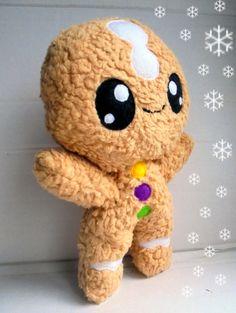 Fluse Kawaii Plush Lebkuchenmann in hellbraun aus hochwertigem Teddy-Plüsch,Fell-Imitat(100% Bio-Baumwolle) Füllung: waschbare Bastelwatte aus Polyester . Höhe:26cm.Einzelstück!Unikat! Nach...