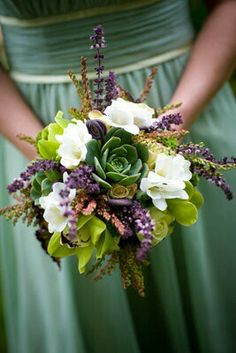Bridesmaid's Bouquet With: Fresh Lavender, Green Succulents, Green Cymbidium Orchids, White Freesia, White & Pink Andromeda & Light Yellow Spray Roses