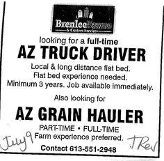 Job Posting for AZ Truck Driver - Demande conducteur AZ.  See our website for other jobs! Voir notre site web pour autres postes!  http://www.giag.ca/employment-services/