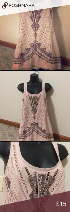 Express gorgeous dressy tank! Small Beautiful top barely worn! Pale pink. Express Tops Tank Tops