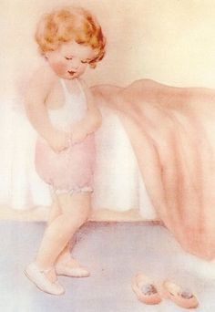 """""""Josies Proud That Shes Learned to Do So Many Things on Her Own - But She Still Has a Little Trouble with Buttonholes"""", by American artist - Bessie Pease Gutmann (1876-1960)"""