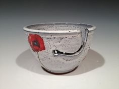 Yarn Bowl with Poppies and layered glaze -- collaboration with Todd Pletcher Pottery