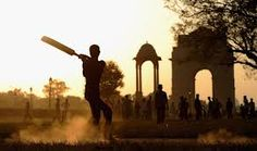 Street Cricket at sunset at Indian Gate