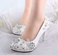 White Lace Crystal Wedding Shoes Bridal Flats/Low/High Heels Size 5-12