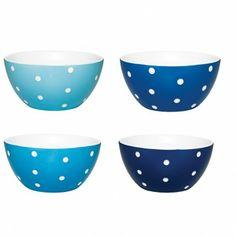 Bowl 04 pçs Poás porcelana azul
