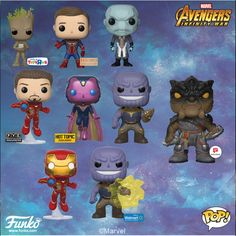 Funko officially announced the Marvel Avengers Infinity War products! Funko Pop Marvel, Marvel Pop Vinyl, Marvel E Dc, Marvel Avengers, Marvel Universe, Funko Pop Dolls, Funko Toys, Funk Pop, Infinity War