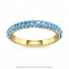 Eternity Band Andromeda Galaxy with Swarovski Pure Brilliance Fancy Blue in Yellow Gold