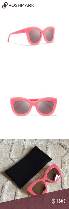 """Alice + Olivia Sunglasses Brand new. Unworn.  Style is """"Madison"""" in Pink Candy/Grey.  Mirrored lenses.   Width: 6in / 15cm Height: 2.25in / 6cm Lens Width: 50mm  Glamorous cat-eye style 100% UV protection Made in Japan Premium acetate with anti-glare, anti-scratch gradient lenses. Alice + Olivia Accessories Sunglasses"""