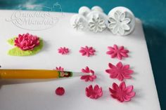i saw a fondant flower kit like this at michael's.  I like the pointed petals better than the rounded petals.  more delicate.
