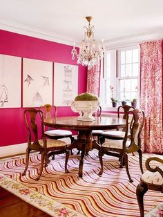 Traditional dining room with hot pink walls Pink Dining Rooms, Dining Room Walls, Dining Room Design, Living Rooms, Murs Roses, Traditional Dining Tables, Simple Artwork, Living Comedor, Kitchen Paint Colors