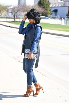 Spring Outfit, Sweenee Style, Leather Vest, Denim on Demin, Outfit Idea, Outfit Post