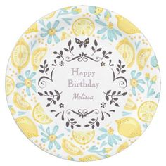 Yellow Lemons u0026 Pastel Blue Flowers Happy Birthday Paper Plate  sc 1 st  Pinterest & Wild Animal Safari Jungle Pattern Birthday Paper Plate | Jungle pattern
