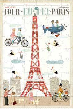 Paris Puzzle with 200 pieces- with cute images around the Eiffel Tower. Vintage Paris, Tour Eiffel, Puzzles, Paris Tour, World Thinking Day, Painting Quotes, Sissy Boys, Travel Images, Soft Dolls