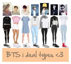 """""""BTS ideal types"""" by wolf5620 ❤ liked on Polyvore featuring Pierre Balmain, adidas, Paige Denim, Chicwish, NIKE, Topshop, RE/DONE, Converse, Skechers and WearAll"""