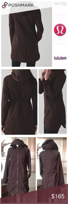 """Lululemon definitely raining brown jacket In excellent condition. No defects found. Worn probably just twice. Tag got cut off but this is a size 6-8? Bust from underarm to underarm laying flat measures 18.5"""" across. Please refer to this measurement. And it's 34.5"""" long.                                p lululemon athletica Jackets & Coats"""