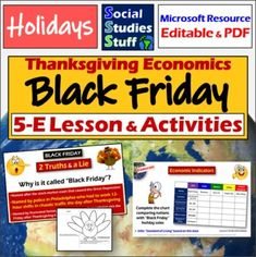 "Black Friday Lesson & Activities | Thanksgiving Holiday & Economic Indicators A Black Friday themed lesson to connect the holidays with your curriculum standards! Explore the history of Black Friday and examine its rapid spread around the world. Challenge students to analyze economic indicators to predict spending on Black Friday. Start with a fun ""2 Truths & a Lie"" warm-up. A vocab matching activity reviews key terms. Create 'Economic Turkeys"" to highlight conditions of different nations. Social Studies Resources, Teacher Resources, Teaching Ideas, Literacy Rate, American History Lessons, Powerpoint Lesson, Map Skills, Political Cartoons"