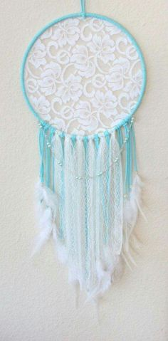 Large Dream Catcher wrapped in Light Blue Faux Suede with White Lace and Blue Glass Pearls Hand Wire Wrapped Lace Dream Catchers, Beautiful Dream Catchers, Dream Catcher Mobile, Cute Crafts, Diy And Crafts, Arts And Crafts, Los Dreamcatchers, Deco Boheme, Creation Deco