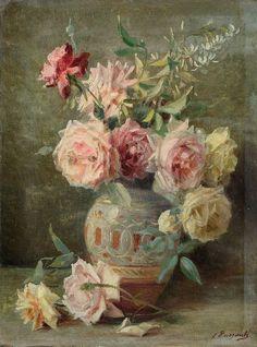 roses in pottery vase....Licinio Barzanti