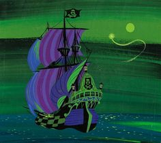 Mary Blair Peter Pan Jolly Roger Concept Painting (Walt Disney, In this classic animated feature, - Available at 2018 June 16 - 17 Animation Art. Mary Blair, Walt Disney, Disney Artists, Disney Concept Art, Jolly Roger, Animation Background, Paintings I Love, Vintage Disney, Studio