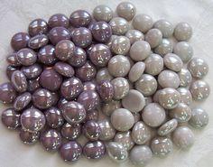 grey and plum wedding  | 50 Glass Gems - Purple/Plum and Gray Mix - Mosaic/Wedding/Floral ...