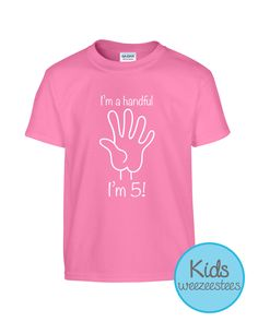 c5770046f Items similar to 5 Year Old Birthday Party Shirt Birthday Gift Idea for 5  Year Old Girl Boy Child I'm 5 I'm a handful Fun Shirt for Kids WeeZeesTees  WT-240 ...