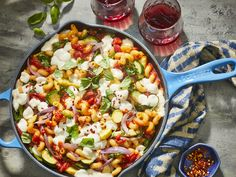 With its roasted vegetables and fresh basil, this gooey, cheesy pasta skillet dinner won a lot of hearts in the test kitchen. This dish is super family friendly, as the vegetables act as a vehicle … Pasta Recipes, Dinner Recipes, Cooking Recipes, Skillet Recipes, Cooking Gadgets, Milk Recipes, Cooking Tips, Ratatouille Recipe, Al Dente