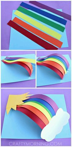 Paper Rainbow Craft diy craft crafts easy crafts diy ideas diy crafts kids crafts paper crafts crafts for kids activities for kids Paper Crafts For Kids, Projects For Kids, Paper Crafting, Fun Crafts, Craft Projects, Craft Ideas, 3d Craft, August Kids Crafts, Simple Paper Crafts