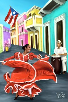 Bomba y Plena is a traditional dance of Puerto Rico that reflects the island's African and Taíno heritage. Artist Sean Kitt: Website / Tumblr / Instagram