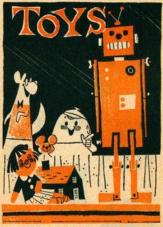 Toy store front window. Illus by Albert Aquino, April 1961 Humpty Dumpty