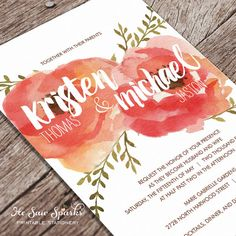 Pretty vintage flowers wedding invitation set. Love the peaches and pinks and calligraphy.