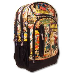 The super functional Marvel Comics Retro Backpack is great for any school age child. The vintage Marvel comic print showcases retro comic book covers of Hulk, Spider-Man, Thor, Iron Man and Captain America. Marvel Backpack, Retro Backpack, Black Comics, Retro Kids, Gadget Gifts, Kids Backpacks, School Backpacks, Bago, Online Shopping Stores