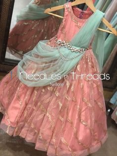Needles n Threads, Nish*tha celebrations,Kings court avenue, Nellore Baby Girl Dress Design, Girls Frock Design, Kids Frocks Design, Baby Frocks Designs, Kids Party Wear Dresses, Kids Dress Wear, Kids Gown, Baby Girl Frocks, Frocks For Girls