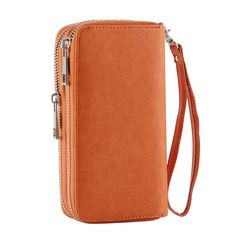 55806644924fe Double Zipper Around Wallet for Women Wristlet Clutch Purse Cellphone Bag  with Handle for Cash