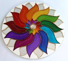 Resultado de imagen para mandalas imagenes Mandala Art, Mandalas Painting, Dot Painting, Ceramic Painting, Mandala Design, Stone Painting, Glass Painting Designs, Paint Designs, Stained Glass Patterns