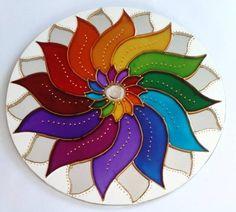 Mandala Colorida em espelho 20cm