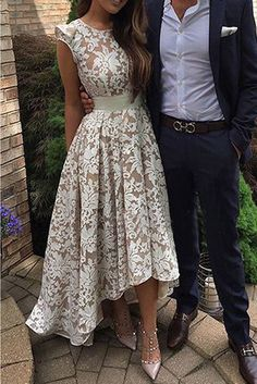 prom dresses 2017 high low prom dresses,lace prom dresses,cap sleeves prom dresses,chic lace prom party dresses,fashion,women fashion