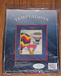 Temptations Long Stitch Embroidery Kit Up And Away Wall Hanging Hot Air Balloon  #Temptations