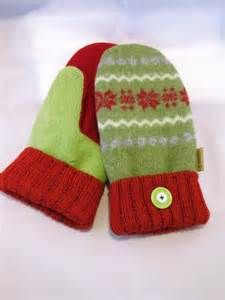 Mittens Made from Recycled Felted Sweaters, Fleece Lined