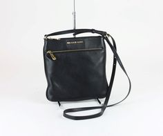 5732ddaa85fd Michael Kors Riley Small Flat Leather Black Crossbody Bag Purse 32s5grlc1l