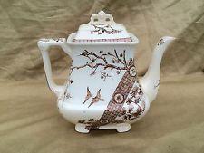 Antique Staffordshire Brown Transfer Tea Pot Rangoon Pattern Burslem