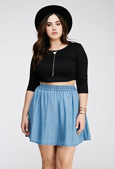 Forever chambray skater skirt plus size summer, plus size girls, roupas plus size, curvy Basic Fashion, Curvy Girl Fashion, Plus Size Fashion, Curvy Outfits, Fashion Outfits, Womens Fashion, Plus Size Girls, Plus Size Women, Plus Size Dresses